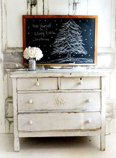 I love this chalkboard sign for Christmas...the dresser with monogram is neat too!