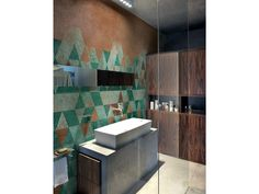 Geometric bathroom wallpaper PATINA WET SYSTEM ™ 14 Collection by Wall