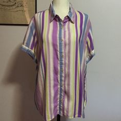 Liz Claiborne Silk  Button Down- XL 100% silk super soft striped shirt! Full button down front. Like new! Liz Claiborne Tops Button Down Shirts