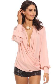 Pink Long Sleeve Front Cross Blouse - Sheinside.com