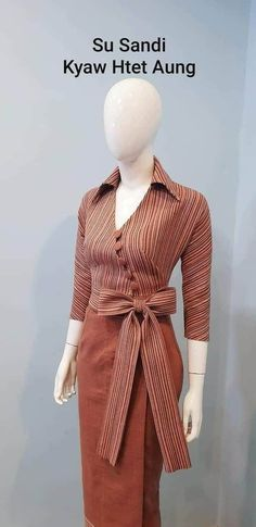 Casual Work Outfits, Classic Outfits, Modest Outfits, Frock Fashion, Batik Fashion, Fashion Outfits, Traditional Fashion, Traditional Dresses, Myanmar Dress Design