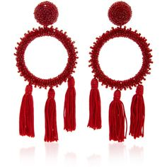 Oscar de la Renta Large Beaded Circle with Tassel C Earring ($490) ❤ liked on Polyvore featuring jewelry, earrings, red, oscar de la renta, red jewelry, tassel earrings, circular earrings, red earrings and earring jewelry