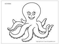 Octopus coloring page. Tons of free sea animals to print and color.