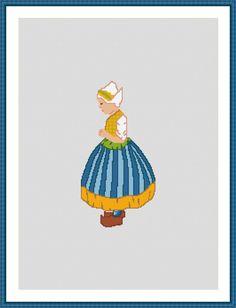 Dutch Girl Folk Costume Cross Stitch Pattern by EdithGraceDesigns