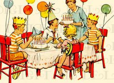 Colorful 1950s Kid's Birthday Party. Vintage Digital BIRTHDAY Card. Retro Birthday Vintage Illustration.  Birthday Card DIGITAL Download