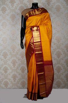Magnificient golden #yellow pure kanchipuream #silk #zari weaved saree-SR14016