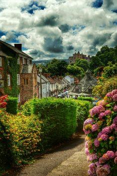 ~~Dunster High Street....   Yarn Market and the castle in the distance, Somerset, England, UK   by Jenny Parry~~