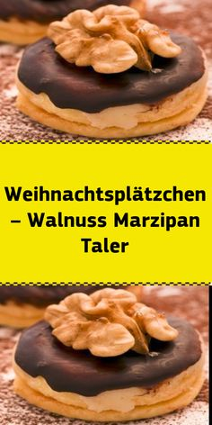 Weihnachtsplätzchen – Walnuss Marzipan Taler These walnut marzipan taler are extraordinary Christmas cookies . that compete with the usual suspects on the cookie plate. Delicious Cake Recipes, Easy Cookie Recipes, Yummy Cakes, Sweet Recipes, Dessert Recipes, Best Christmas Cookies, Vegan Christmas, Holiday Cookies, Christmas Baking