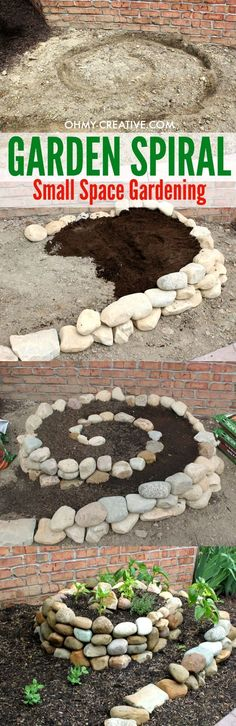 This Garden Spiral is a great way to create a vegetable garden when you only have a small space to work with. Plus it looks pretty in the yard - a great conversation piece! | OHMY-CREATIVE.COM #GardeningIdeas