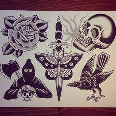 tattoosbycaleb:  tattoosbycaleb:  Caleb Morford  Tattoosbycaleb@gmail.com.  I would love to tattoo more stuff off of this sheet! Hit me up if you're interested!