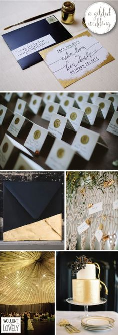 White black and gold wedding inspiration, gilded wedding, gold foil invitations, gold wedding details, Wouldn't it be Lovely