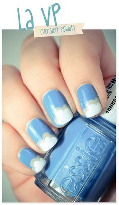 Clouds nail art: three color colour, light blue, light grey and white. Cloudy design #spring #summer