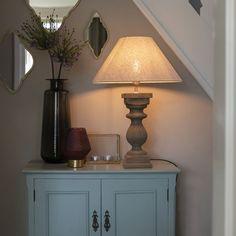 Ländliche #Tischleuchte mit Leinenschirm beige 50 cm - Hyssop Designer, Table Lamp, Modern, Beige, Lighting, Nest, Home Decor, Interior Lighting, Dinning Table Set