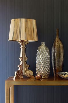 Precious metals are on the up. From the Metro console table to the Kartell Bourgie Lamp.