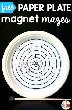 Free paper plate magnet mazes.  Great for fine motor and sensory input.  Also a great addition to your science unit on magnets!!