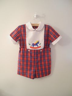 1970s Navy and Red Plaid Rocking Horse Romper $30.00
