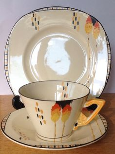 RARE ART DECO BURLEIGH ZENITH KEW PATTERN TRIO, CUP SAUCER TEA PLATE in Pottery, Porcelain & Glass, Pottery, Burleigh | eBay