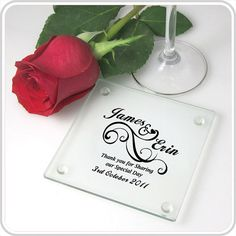 50 Personalised Printed Wedding Glass Coasters Wedding Bomboniere Wedding Favour on Etsy, $250.00 AUD
