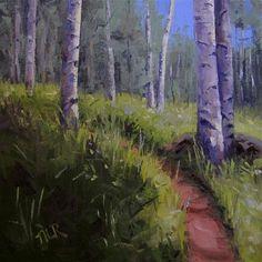 """Aspen Path"" - Original Fine Art for Sale - © by Nancy Romanovsky"