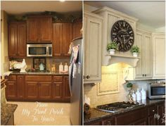 LOVE the stove hood! Hidden fan, cute shelf!! Love the cabinet paint and back splash, too.