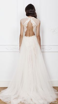 divine atelier 2016 bridal gowns cap sleeves jewel neckline middle slit fully embellished elegant sexy lace sheath wedding dress detachable a line overskirt keyhole back (isadora) bv