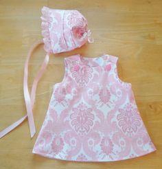 Baby Dress & Bonnet Set Pink Damask Lace Handmade Beautiful $19.99