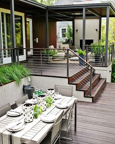 Planning a new deck or a deck makeover? Browse these pictures of beautiful decks to find inspiration for materials, layout, decorating, and more. This trio of deck tours shows how to layer comfort and (Patio Step With Railing) Backyard Patio, Backyard Landscaping, Desert Backyard, Patio Decks, Backyard Kitchen, Wood Patio, Landscaping Ideas, Outdoor Rooms, Outdoor Living