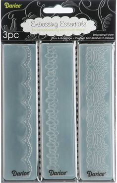 """Laces Embossing Folder Borders - 1.5"""" x 5.75"""". Add texture and style to your paper and cardstock projects with Darice's embossing folders. These border folders will fit most embossing machines. Dimensions: 5.75"""" x 1.37"""" 3 per pack Available in a variety of designs: each sold separately Imported"""