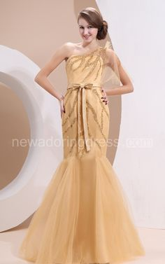 Magnificent Asymmetrical One-Shoulder Dress With Beaded And Ribbon Sash
