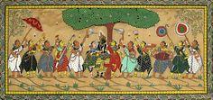 Radha Krishna Under Kadamba Tree with Gopinis (Orissa Paata Painting on Tussar Silk - Unframed))