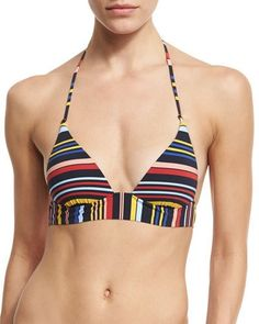 STELLA MCCARTNEY Striped Triangle Swim Top, Flame/Navy. #stellamccartney #cloth #