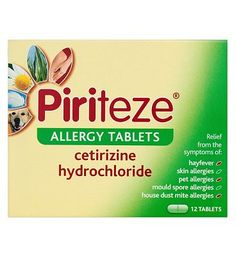 Piriteze Allergy Tablets - 12 Pack 10084610 16 Advantage card points. Releves the symptoms of hayfever, non-seasonal rhinitis (runny  itchy nose).See details below, always read the labelSuitable for: Adults  children aged 12 years  overActiv http://www.MightGet.com/february-2017-1/piriteze-allergy-tablets--12-pack-10084610.asp