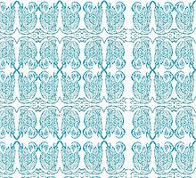 Blue Abstract Sketch Pattern by Maureen Zaharie