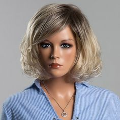 Fluffy Short Wave Mixed Color Human Hair Noble Side Bang Capless Siv Hair Wig For Women