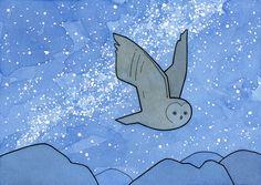 Owl Milky Way Art Print starry night sky watercolor by 100owls