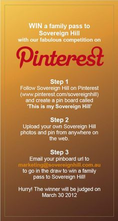 Enter our Pinterest competition for a chance to win Family Pass to Sovereign Hill!