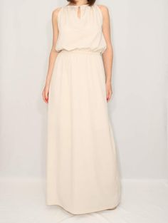 Long beige dress Chiffon Maxi Dress Bridesmaid dress by KSclothing, $34.00