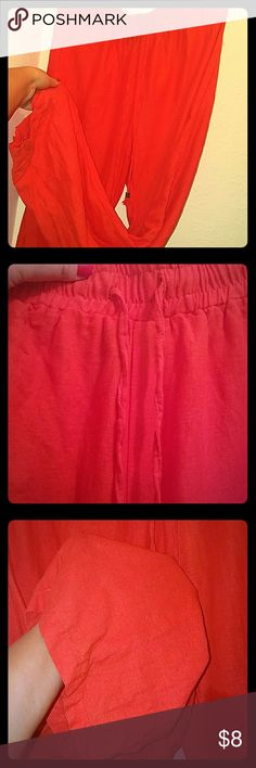 Coral Lounge Pants 55% Linen 45% Rayon. Comfy lounge pants. Not pajama pants. The material is not stretchy. Super cute with a v-neck tshirt or worn to the beach! Size is XL. Fits like a 14-16! Cynthia Rowley Pants Wide Leg