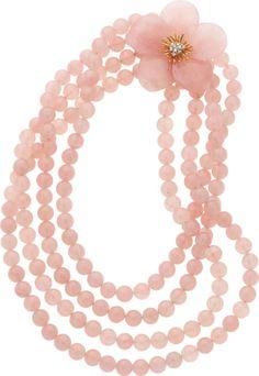 Rose Quartz, Diamond, Gold Convertible Brooch-Necklace