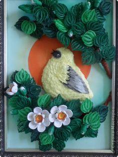 Картина панно рисунок Квиллинг На закате Бумага фото 1