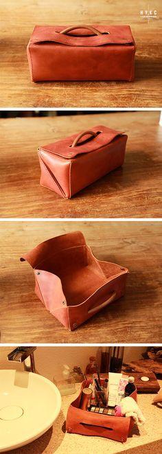 Expanding Toiletry Bag, Traveller Dopp Kit, Handmade Vegetable Tanned Leather…