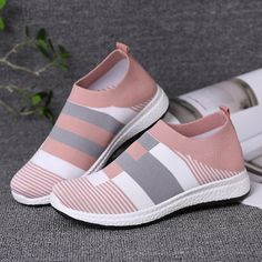 Women's Comfy Color Block Slip-on Sneakers – inspireyoos Girls Sneakers, Slip On Sneakers, High Top Sneakers, Tenis Casual, Casual Shoes, Shoes Style, Comfortable Sneakers, Sock Shoes, Shoes Online