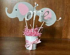 Elephant Center Pieces, elephant baby shower, elephant birthday by sparklesNpolkadots on Etsy Baby Shower Cupcakes For Girls, Baby Boy Shower, Elephant Baby Showers, Baby Elephant, Shower Party, Baby Shower Parties, Elephant Baby Shower Centerpieces, Elephant Birthday, Party Centerpieces