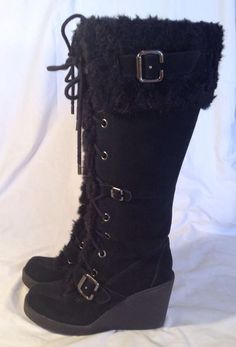 d32e0b7d226 Womens Knee High fashion Boots 7.5 Black Suede Leather Faux Fur Trim Wedge