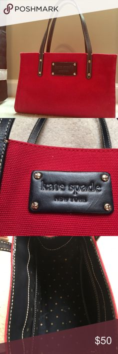 Kate Spade Tote Kate Spade red canvas tote with leather straps. Gently used condition. Perfect for that quick trip out, or would make an excellent lunch tote! kate spade Bags Mini Bags