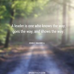 A leader sets the example.
