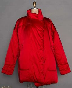 """Norma Kamali Red Puffy Coat, 1980s, Called """"sleeping bag car coat"""" by Kamali, lipstick red rayon blend, quilted, L 36"""", excellent; t/w 2 grey labeled jackets: 1 Dorothy Bis faux fur & 1 Christian Dior mohair boucle, Paris label, excellent."""