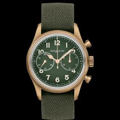 Montblanc 1858 Limited Edition Stainless Steel & Leather Strap Automatic Chronograph Watch In Green Patek Philippe, Nato Armband, Bronze, Limited Edition Watches, Nato Strap, Fine Watches, Luxury Watches, Calf Leather, Chronograph