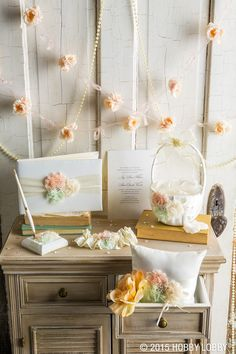 For a dreamy and romantic color palette, start off your wedding décor with pretty basics in an ivory tone, then add delicate details in shades of mint and blush.