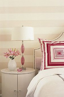 Sarah Richardson pink bedroom I love the stripes for a baby girl nursery. Just the type of thing I'm looking for to go with my subtle colored, Victorian theme. Sarah Richardson, Sara Richardson Design, Home Bedroom, Bedroom Decor, Shabby Bedroom, Pretty Bedroom, Shabby Cottage, Bedroom Wall, Shabby Chic